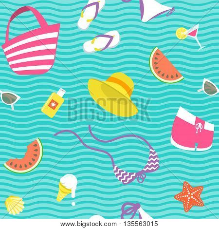 Summer vacation vector flat style seamless background pattern. Women summer clothes, beach accessories, ice cream, starfish, shell, watermelon icons scattered on wavy background. Wrapping paper design
