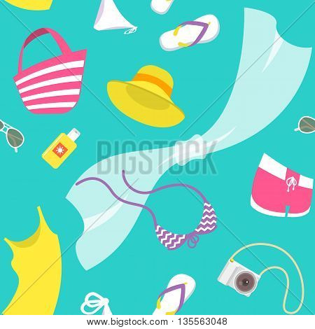 Summer vacation female vector flat style seamless background pattern. Women casual summer clothes and beach accessories scattered on a blue background. Summer holidays wrapping paper design.