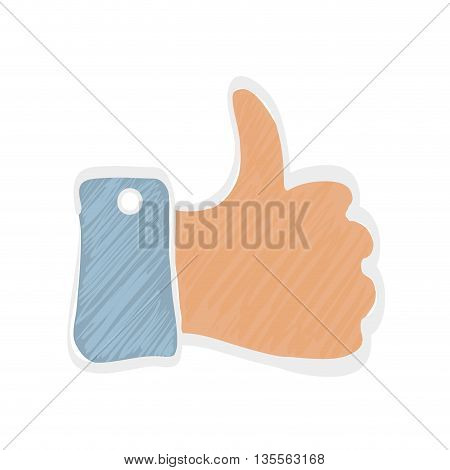 Human hand concept represented by gesture with fingers  icon over flat and isolated background