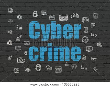 Privacy concept: Painted blue text Cyber Crime on Black Brick wall background with  Hand Drawn Security Icons