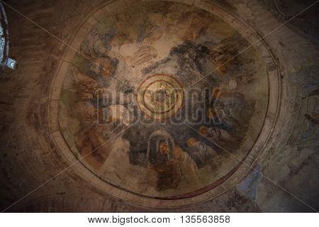 Demre, Turkey - July, 2015: Fresco in the Church of St. Nicholas in Demre, Turkey