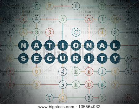 Protection concept: Painted blue text National Security on Digital Data Paper background with Hexadecimal Code