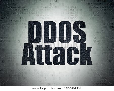 Protection concept: Painted black word DDOS Attack on Digital Data Paper background