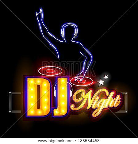 easy to edit vector illustration of Neon Light signboard for DJ Night