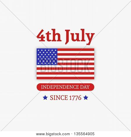 Fourth of July. Stylish American Independence Day design with american flag. Usable for 4th of July greeting cards, web sites, banners, print. Vector Template.