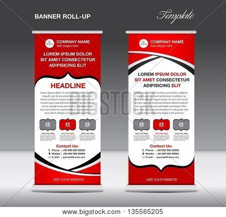 Red Roll up banner stand template vintage banner vector illustration