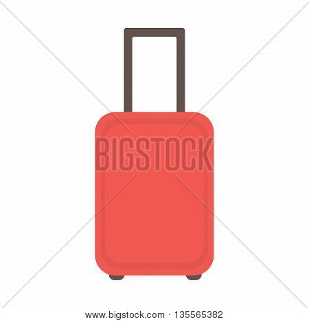 Modern red suitcase on wheels. Suitcase for travel and business trips. Vector illustration.
