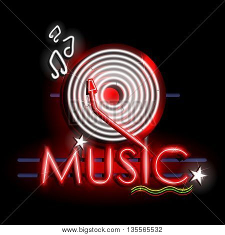 easy to edit vector illustration of Neon Light signboard for Music banner
