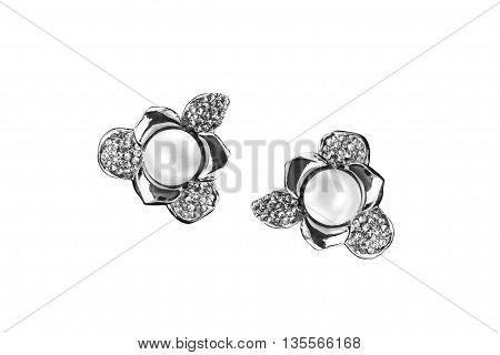 Earrings with pearl and diamonds isolated over white