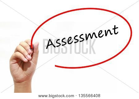 Man Hand writing Assessment with marker on transparent wipe board. Business internet technology concept.