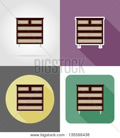 commode furniture set flat icons vector illustration isolated on white background