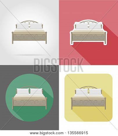 bed furniture set flat icons vector illustration isolated on white background