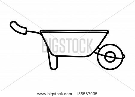 Gardening concept represented by wheelbarrow icon over flat and isolated background