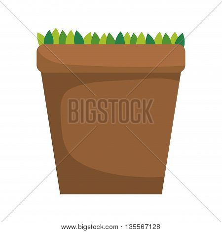 Gardening concept represented by pot  icon over flat and isolated background