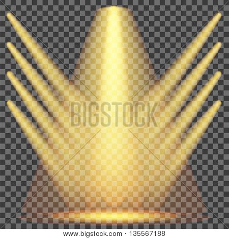 Set of Yellow Spotlights Isolated on Checkered Background