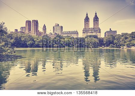Retro Toned Photo Of Central Park, New York.
