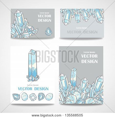 Set of banners and business cards with crystals. Vector poster with magical crystals.