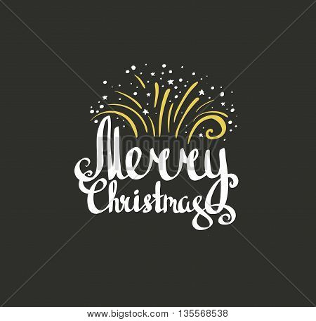 Merry Christmas greeting card on black background with gold fireworks. Season greeting cards template