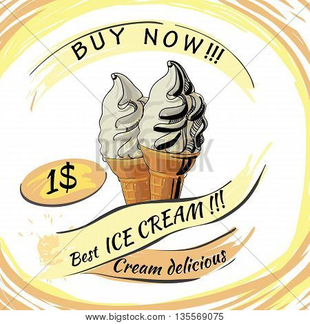 Vector illustration of Ice Cream with price. Popsicle on a white background. Popsicle colorful poster. Cream ice cream. Poster design, template
