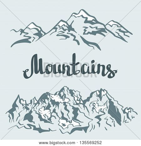Vector Himalayan peaks. Hand drawn mountain landscape.