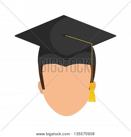 Graduation and University concept represented by graduation cap and boy  icon over flat and isolated background