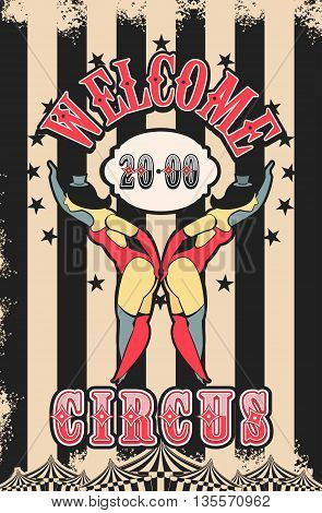 Vector illustration of vintage circus posters on striped background with space for text decorated with circus tents and two circus artists in suits