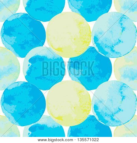 Abstract background with watercolor painted circles in blue green and yellow. Seamless pattern in marine color. Template for your design. Vector illustration
