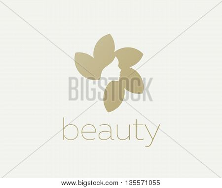 Beautiful woman face flower star logo design template. Hair, girl, sun negative space logotype. Abstract design concept for beauty salon, massage, magazine, cosmetic and spa. Premium vector icon