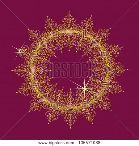 Decorative Element vector round lace pattern golden mandala on a beautiful color Marsala