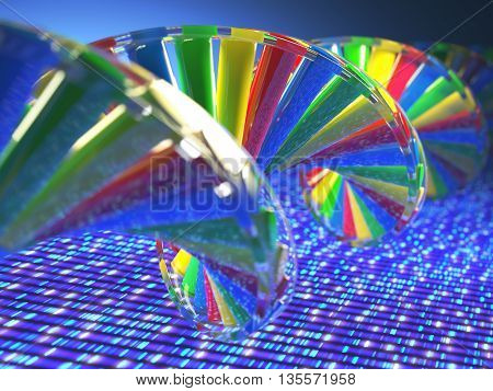 3D illustration, colorful DNA concept of genetic engineering or genetic modification.
