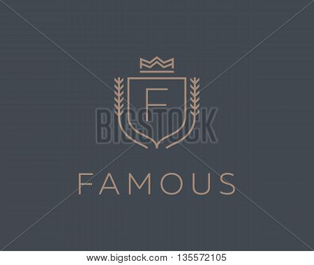 Premium monogram letter F initials ornate signature logotype. Elegant crest logo icon vector design. Luxury shield crown sign