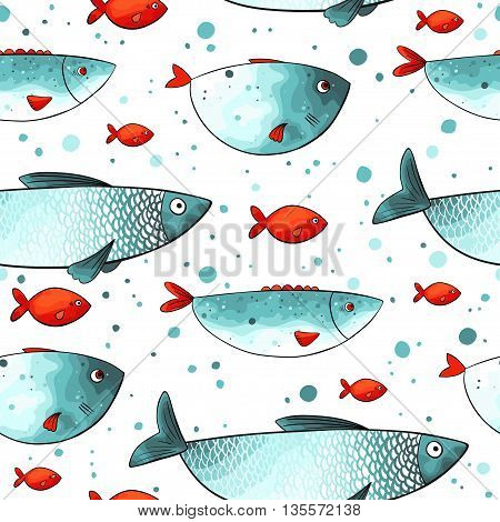 Vector pattern with funny fishes in turquoise and red colors. Seamless texture. Imitation of watercolor