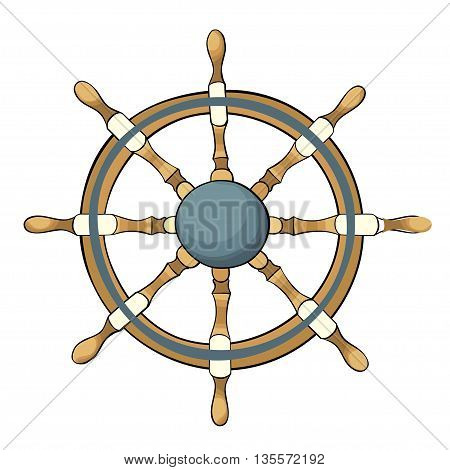 Vector illustration of ship steering wheel isolated on white.