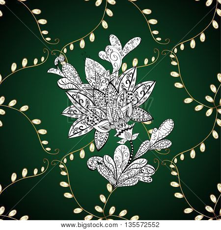 Vintage pattern on green gradient background with golden elements.