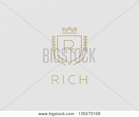 Premium monogram letter R initials ornate signature logotype. Elegant crest logo icon vector design. Luxury shield crown sign