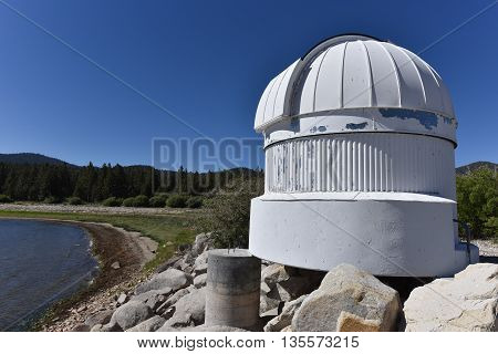 Big Bear Lake California June 16 2016 - The Big Bear Solar Observatory Ash Dome with the lake level down 14 feet from normal.