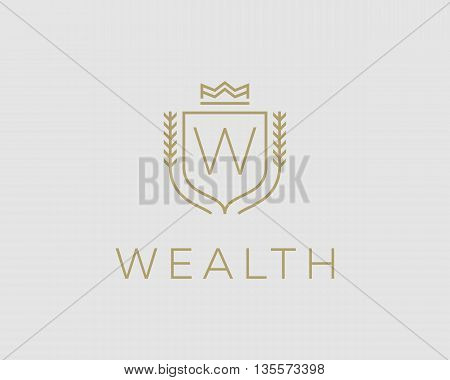 Premium monogram letter W initials ornate signature logotype. Elegant crest logo icon vector design. Luxury shield crown sign