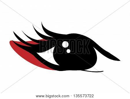 Japan culture concept represented by traditional womans eye over flat and isolated background