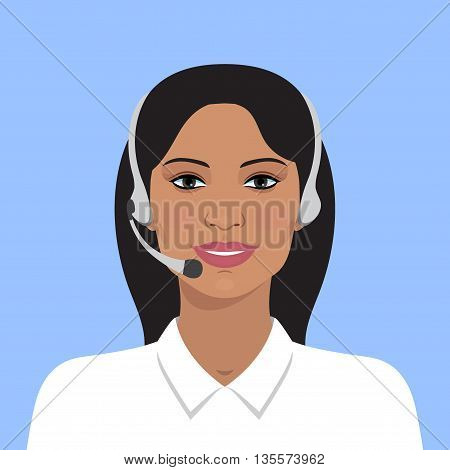 Vector illustration of cheerful support phone or call-center operator in headsets. Vector business flat illustration. Indian business woman. Avatar portrait of on line operator. Flat avatar.