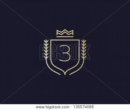 Premium number 3 ornate logotype. Elegant numeral crest logo icon vector design. Luxury figure shield crown sign. Concept for print or t-shirt design.