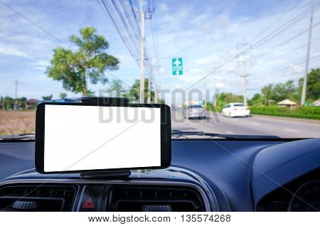 Blank mobile smart phone selective focus on road to go to air port background shallow depth of field