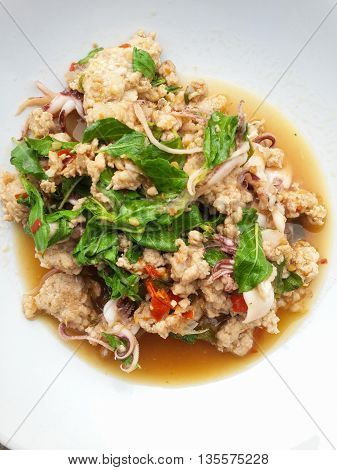 spicy pork basil and squid fried - Thailand style food