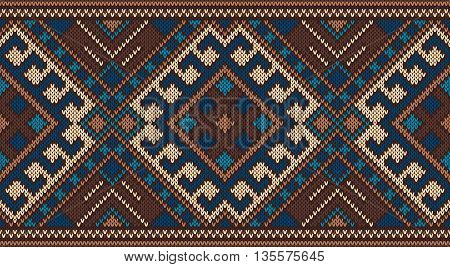 raditional Tribal Aztec Seamless Pattern on the Wool Knitted Texture. Knitted Sweater Design