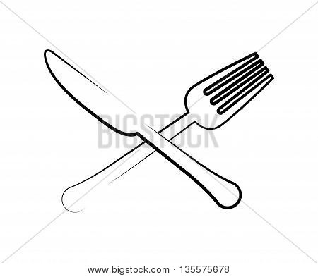 Menu and kitchen represented by cutlery icon over isolated and flat background