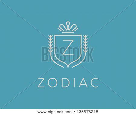 Elegant monogram letter Z logotype. Premium crest logo design. Shield, royal crown symbol. Print, t-shirt design shape