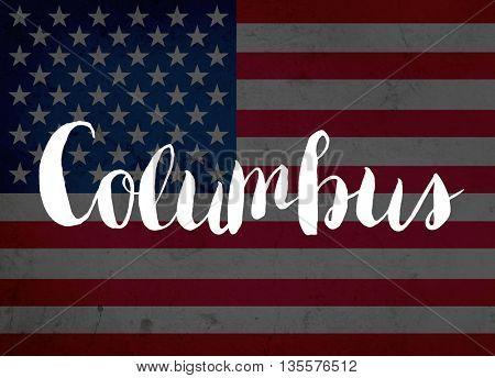 Columbus written with hand-written letters
