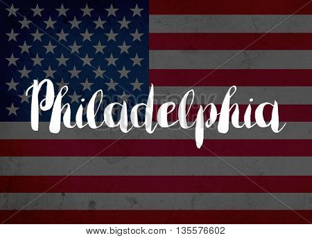 Philadelphia written with hand-written letters