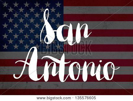 San Antonio written with hand-written letters