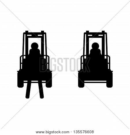 Black vector fork lift truck icon set isolated
