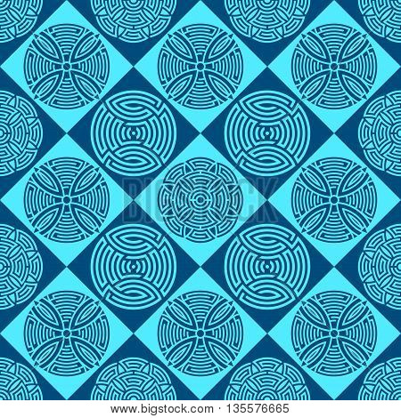 Beautiful seamless ornamental pattern vector illustration blue version